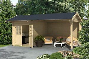 Gartenhaus Mit Unterstand 34 mm geräteschuppen 560 x 320 cm lounge schuppen holz gartenhaus