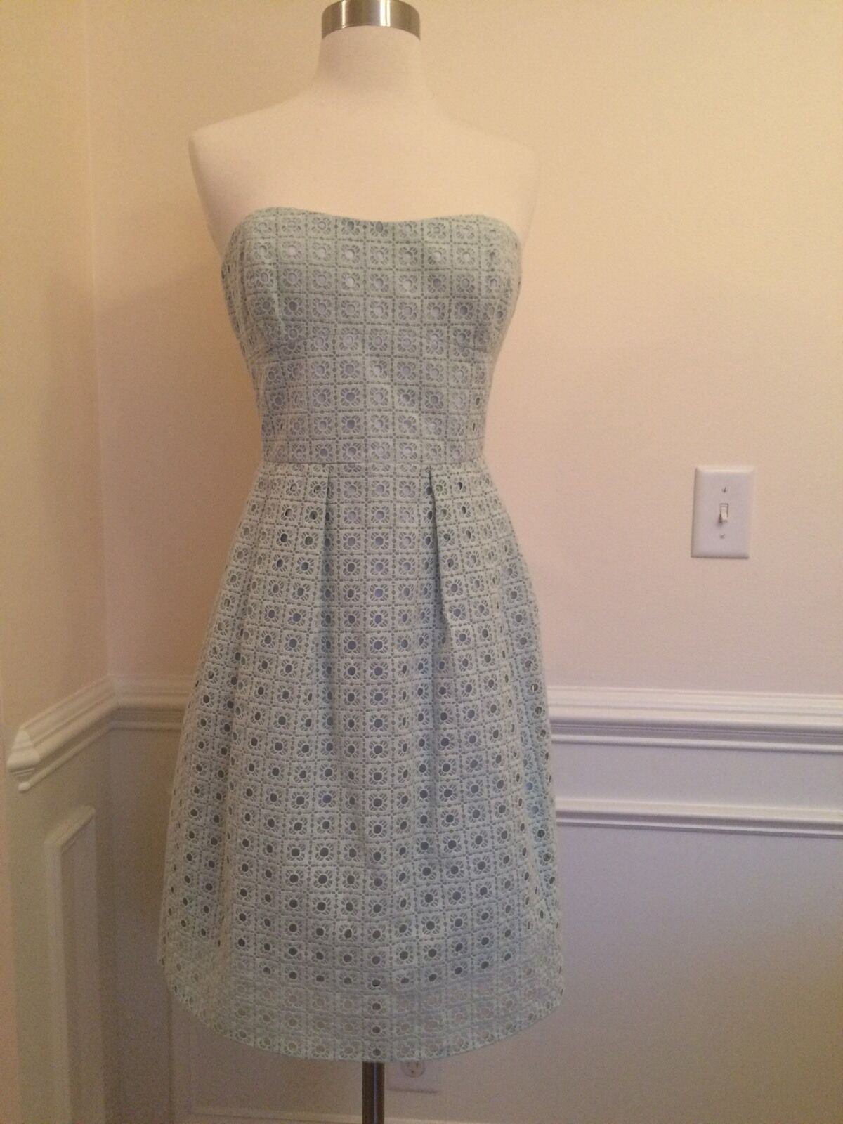New J CREW Dusty Seaglass B9503 Hayley Organza Tube Beach 10 Eyelet Summer Dress