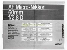Manuale cartaceo originale x Nikon AF Micro Nikkor 60mm. f2,8 D.