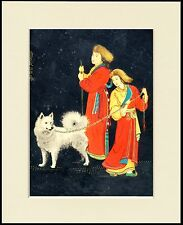 SAMOYED AND REINDEER HERDERS LOVELY DOG PRINT MOUNTED READY TO FRAME