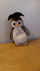 Ty Original Beanie Baby WISE Owl Graduate Class of 1998 RARE FIND Tag Error
