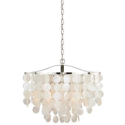3 Light Satin Nickel Pendant Elsa Capiz S Vaxcel Lighting Fixture P0139 884656733167 Ebay