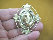 (B-HORSE-59) Horse shoe wreath race horses oval leaf design pin pendant brass