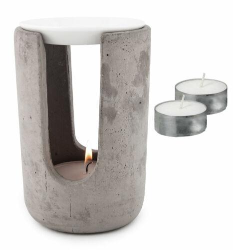 2x Teelicht Aroma Duftlampe Beton Weiß 10x15cm Tischdeko Teelichthalter inkl