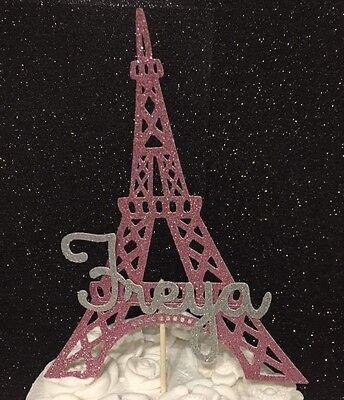 Outstanding Personalised Eiffel Tower Birthday Cake Topper Pink Age Name Paris Birthday Cards Printable Giouspongecafe Filternl