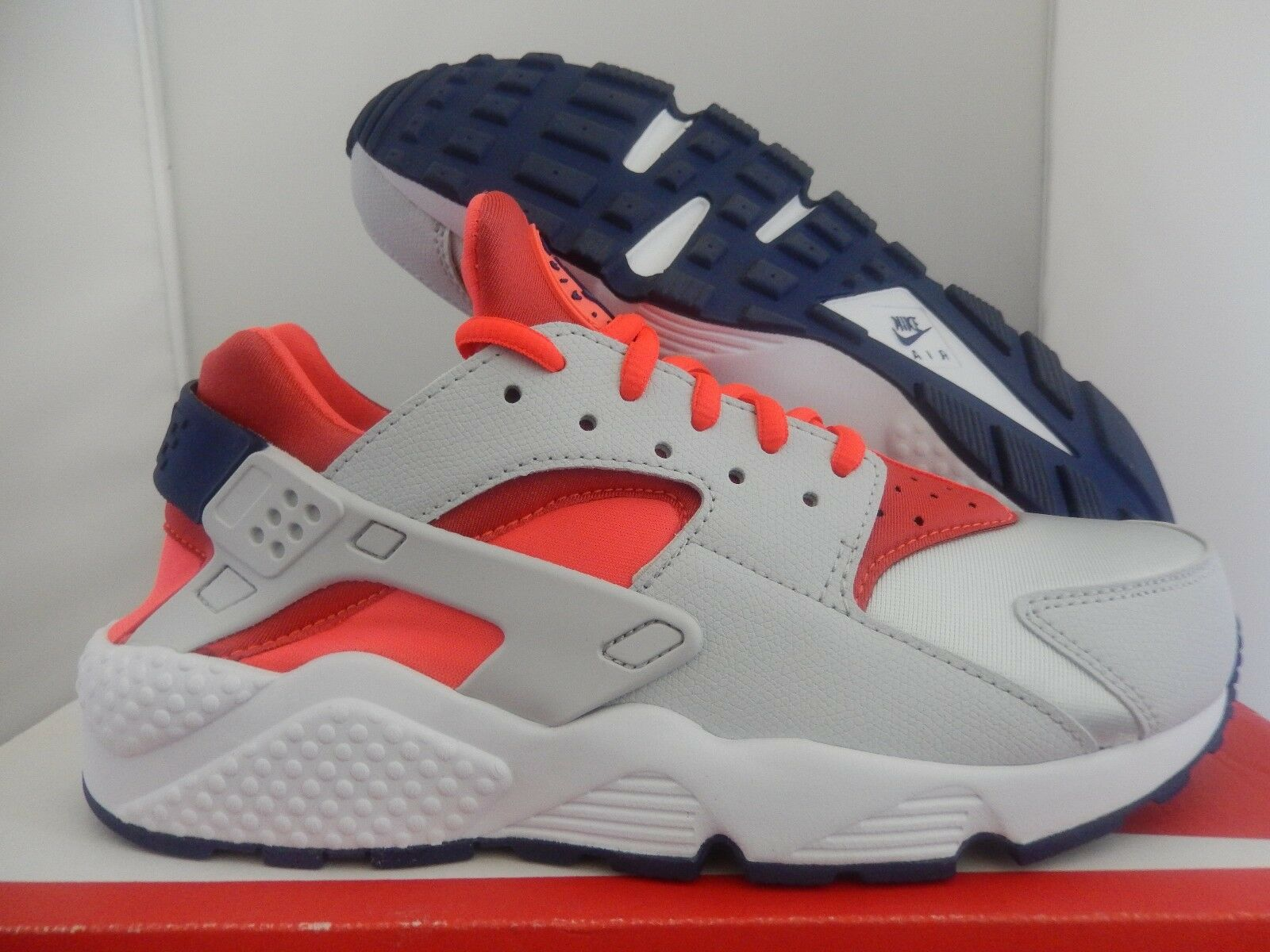 WMNS NIKE AIR HUARACHE RUN PURE PLATINUM-BRIGHT CRIMSON SZ 7 [634835-013]