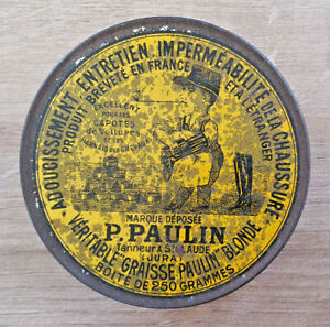 Ancienne-Boite-Publicitaire-Veritable-034-Graisse-Paulin-034-Blonde-P-Paulin-Vintage