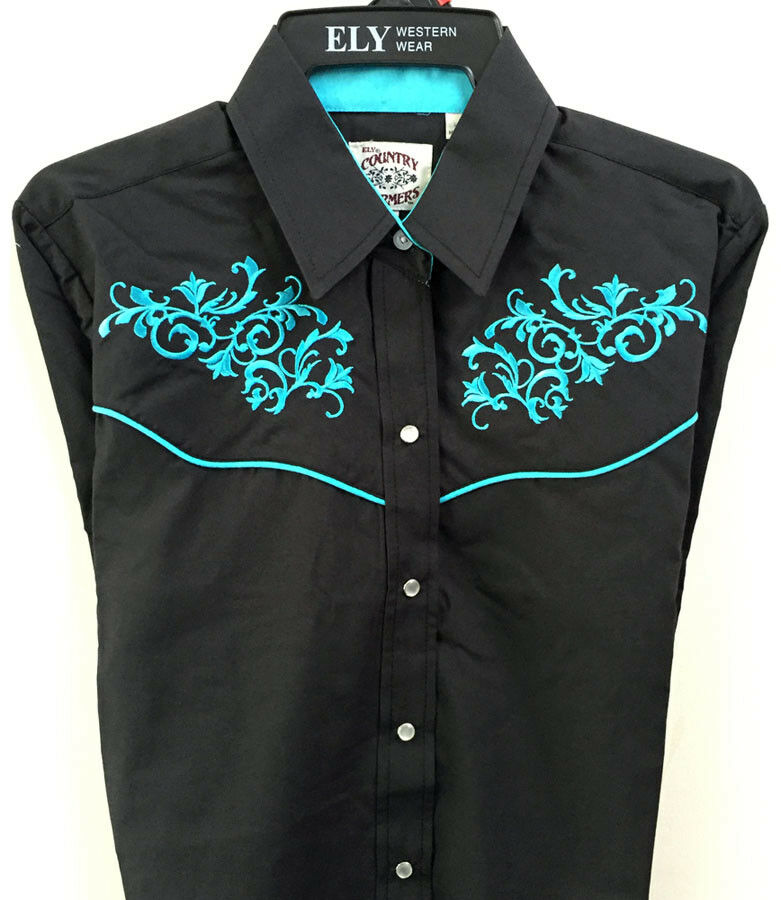 Ely schwarz Turquoise Scroll damen Shirt