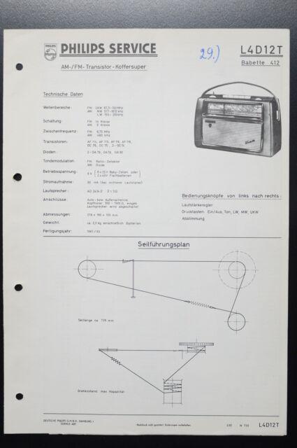 Philips L4d12t Babette 412 Original Service Manual  Manual