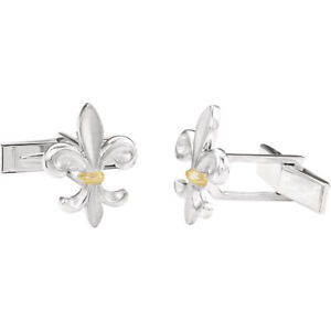 75075b400 Fleur-de-lis Cuff Links-Pair In Sterling Silver & 14K Yellow | eBay