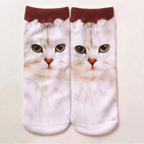 1 Pair Fashion Men Women Casual Low Cut Ankle Socks Cotton 3D Printed Animals a