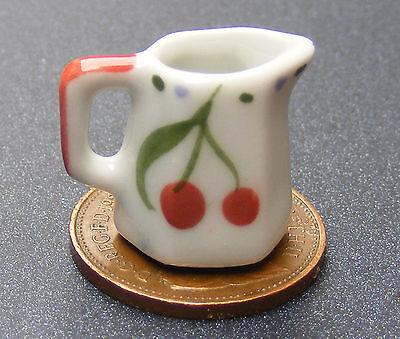 1:12 Scala Brocca In Ceramica Con Un Motivo Dipinto A Mano Ciliegia Tumdee Casa Delle Bambole J2-mostra Il Titolo Originale Gli Ordini Sono Benvenuti