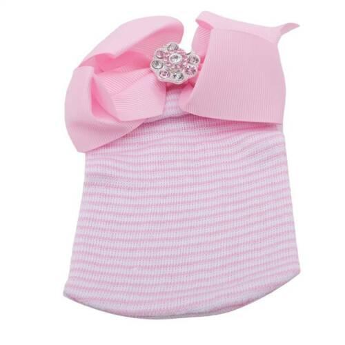 Baby Girls Infant Striped Hat Bow Cap Hospital Newborn Cute Beanie Hats Z