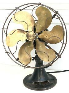 Antique Emerson Electric Fan Six Brass Blades Oscillator 71666 - For Restore