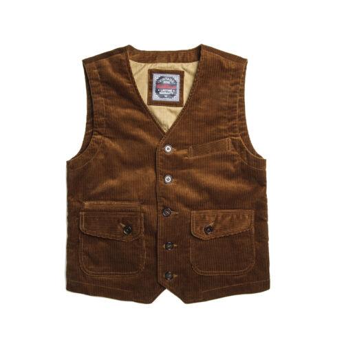 Men's Vintage Workwear Inspired Clothing   Red Tornado Vintage Style Corduroy Waistcoat Winter Mens Casual Vest Cords Brown $76.99 AT vintagedancer.com