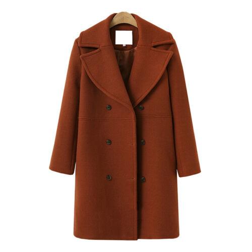 Women Winter Overcoat Woolen Trench Coat Lapel Long Jacket Casual Warm Outwear