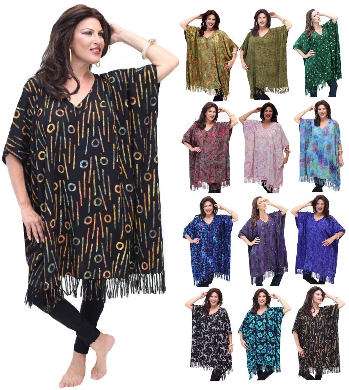 Gypsy Poncho Top-Cover Up Fringed Batik Oversized- T141 Now Size Up To 7X
