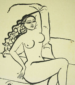 Emile-Bouneau-1902-1970-Drawing-Original-in-the-Ink-Naked-Woman-Nude