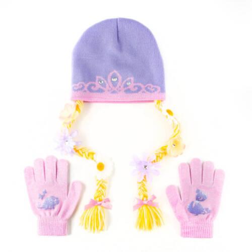Disney Princess Rapunzel Knit Beanie Hat Cap and Gloves Set One Size Pink Purple