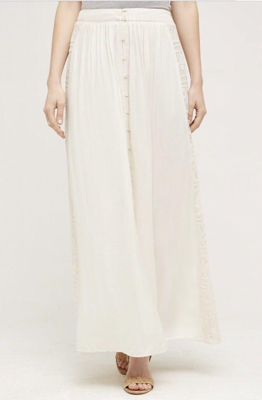 NEW Anthropologie RannaGill Ivory Depurpleh Maxi Skirt Size XS Button Front