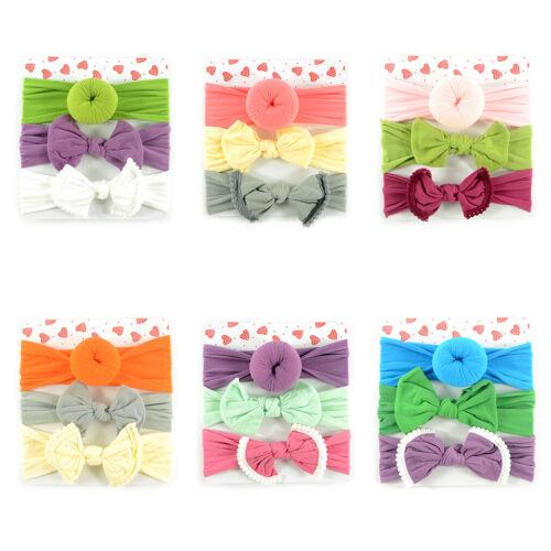 3 Pcs//set Children Newborn Nylon Hair Band Baby Donut Bow Wide-brimmed Headband
