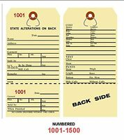 Alteration Tags 6-1/4 X 3-1/8 2-sided Manila With Button Slot Numbered1001-1500