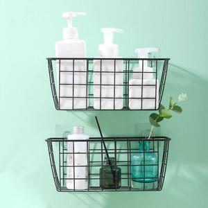 Rectangular-Storage-Basket-Kitchen-Bathroom-Hanging-Organizer-Wall-Storage-Racks