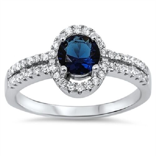 925 Sterling Silver Big Stone Sapphire CZ Ring Fancy September Birthstone