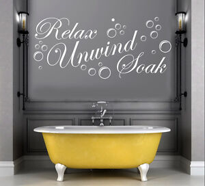 Relax-Unwind-Soak-Vinyl-Wall-Art-Sticker-Decal-Bathroom-24-Colours-FREE-P-amp-P