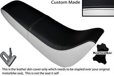 BLACK & WHITE CUSTOM FITS KINROAD XT 50 GY DUAL LEATHER SEAT COVER