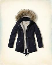 NWT Hollister by Abercrombie Sherpa Lined Faux Fur Hoodie Parka Jacket Blue XS