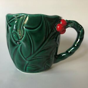 Vintage-Lefton-Christmas-Holly-amp-Berry-Coffee-Cocoa-Mug-Japan-Green-1366