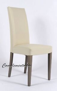 Sedia in ecopelle gambe in legno moderna soggiorno cucina ufficio ...