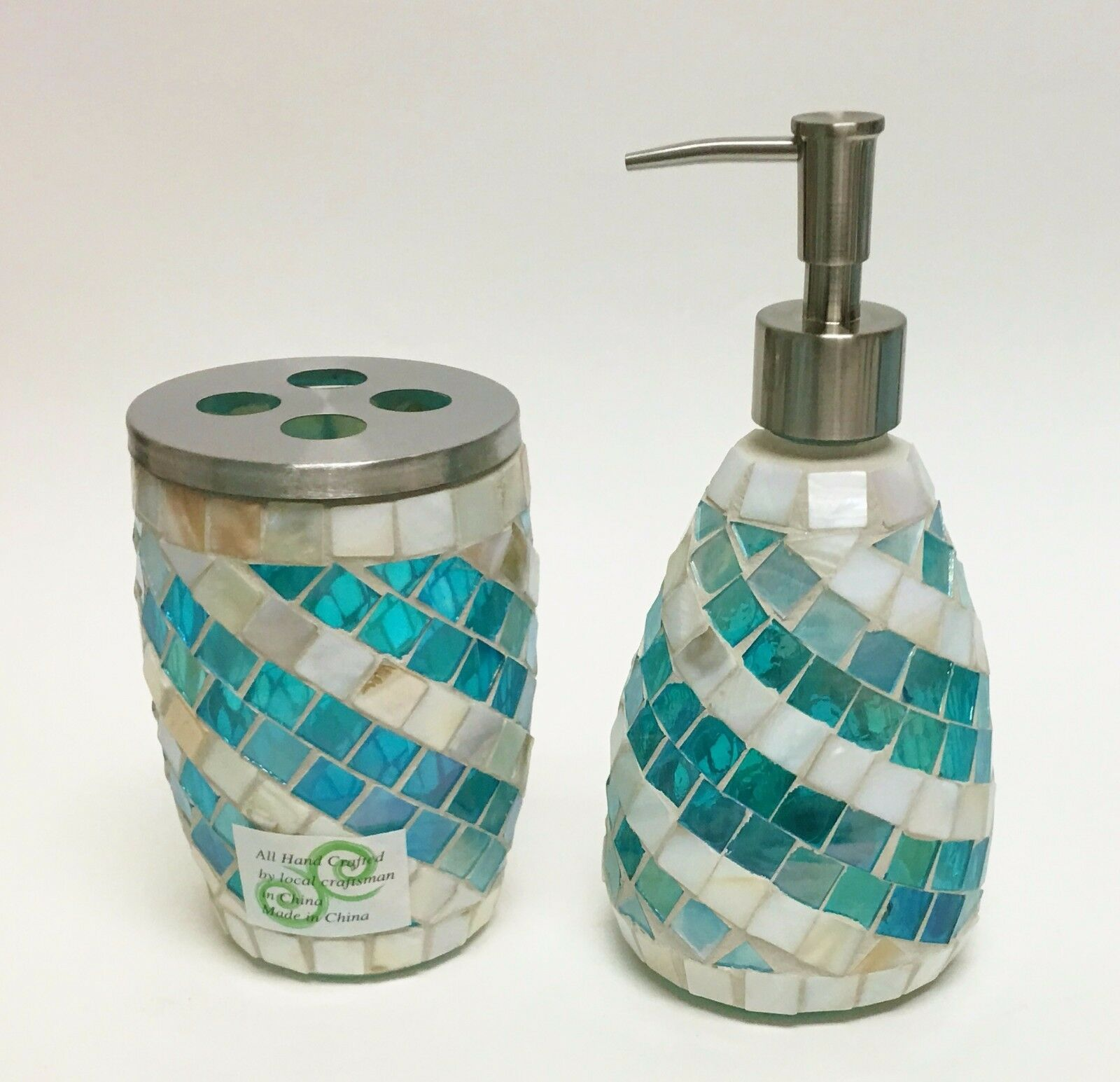 NEW COASTAL COLL. 2 PC Blau+Weiß MOP Glas MOSAIC SOAP DISPENSER+TOOTHBRUSH HLD