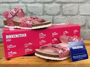 BIRKENSTOCK-UK-10-EU-28-RIO-PINK-METALLIC-CROC-SUEDE-SANDALS-CHILDRENS-GIRLS-EP