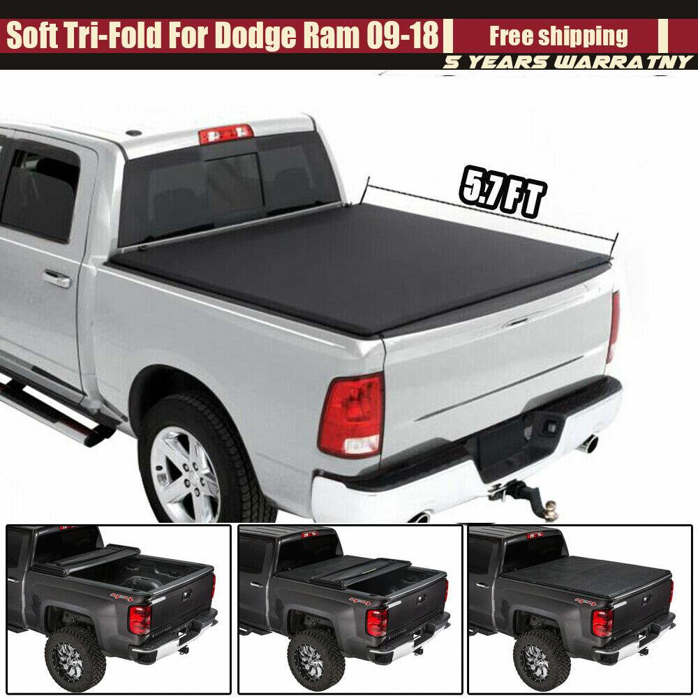 "ROLL-UP SOFT VINYL TONNEAU COVER FITS 09-19 DODGE RAM 5.7/'//68.4/"" TRUCK SHORT BED"