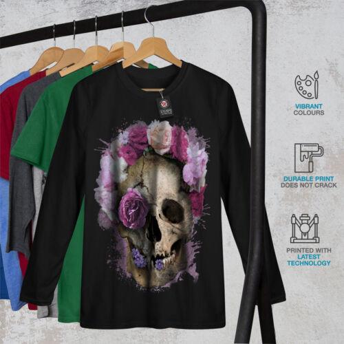 Skull Flower Rose Women Long Sleeve T-shirt NEWWellcoda