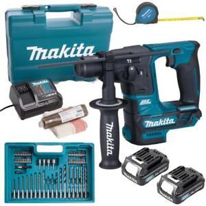 Makita-10-8-V-SDS-Akku-Bohrhammer-HR166DSAE1-2x-Akku-2-0Ah-Bits-Bohrerset