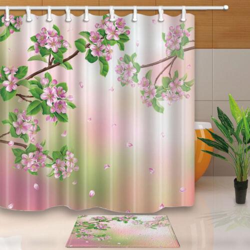 Pink Flower peach blossom Green Leaves Waterproof Fabric ShowerCurtain Bath Mat