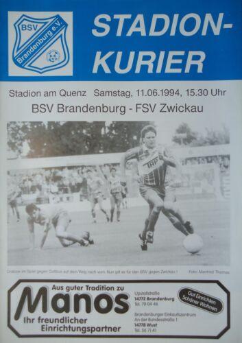 FSV Zwickau Programm AR 2 BL 1993//94 BSV Brandenburg
