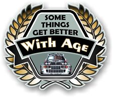 Koolart Crest BETTER WITH AGE Slogan & Lancia Delta Integrale HF Car Sticker