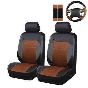 Universal-Car-Seat-Covers-CAYENNE-Steering-Wheel-Cover-Set-2-Front-Seat-Leather