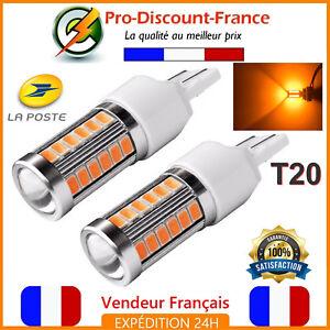 2-x-T20-Ampoule-33-LED-7443-7440-W21-5W-ORANGE-Feux-De-Jour-Clignotant-Ampoules