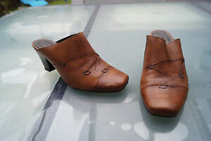 Details zu schicke TAMARIS Damen Sommer Schuhe Sandalen Clogs Absatz Gr.37 braun Leder #88