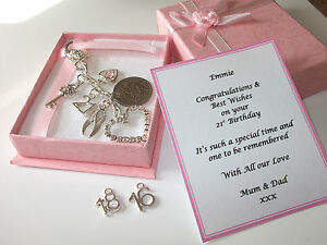 18th 21st 16th Silver Personalised Girls Birthday Gift