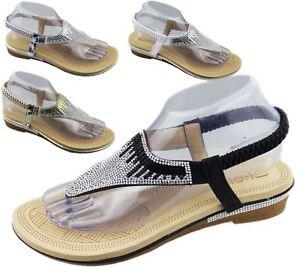 Womens-Flat-Sandals-Ladies-Diamante-Toe-Post-Summer-Wedding-Soft-Sole-Shoes