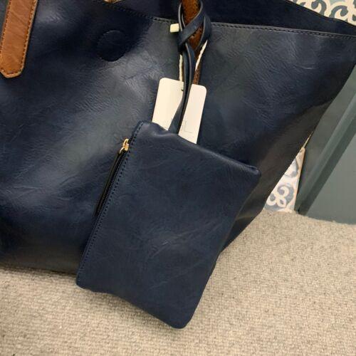 Navy Blue Faux Leather Shoulder Shopper Bag Handbag Removable Pouch /& Purse