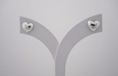 Tiny Llano 925 plata en forma de corazón hinchado Stud Pendientes 9mm