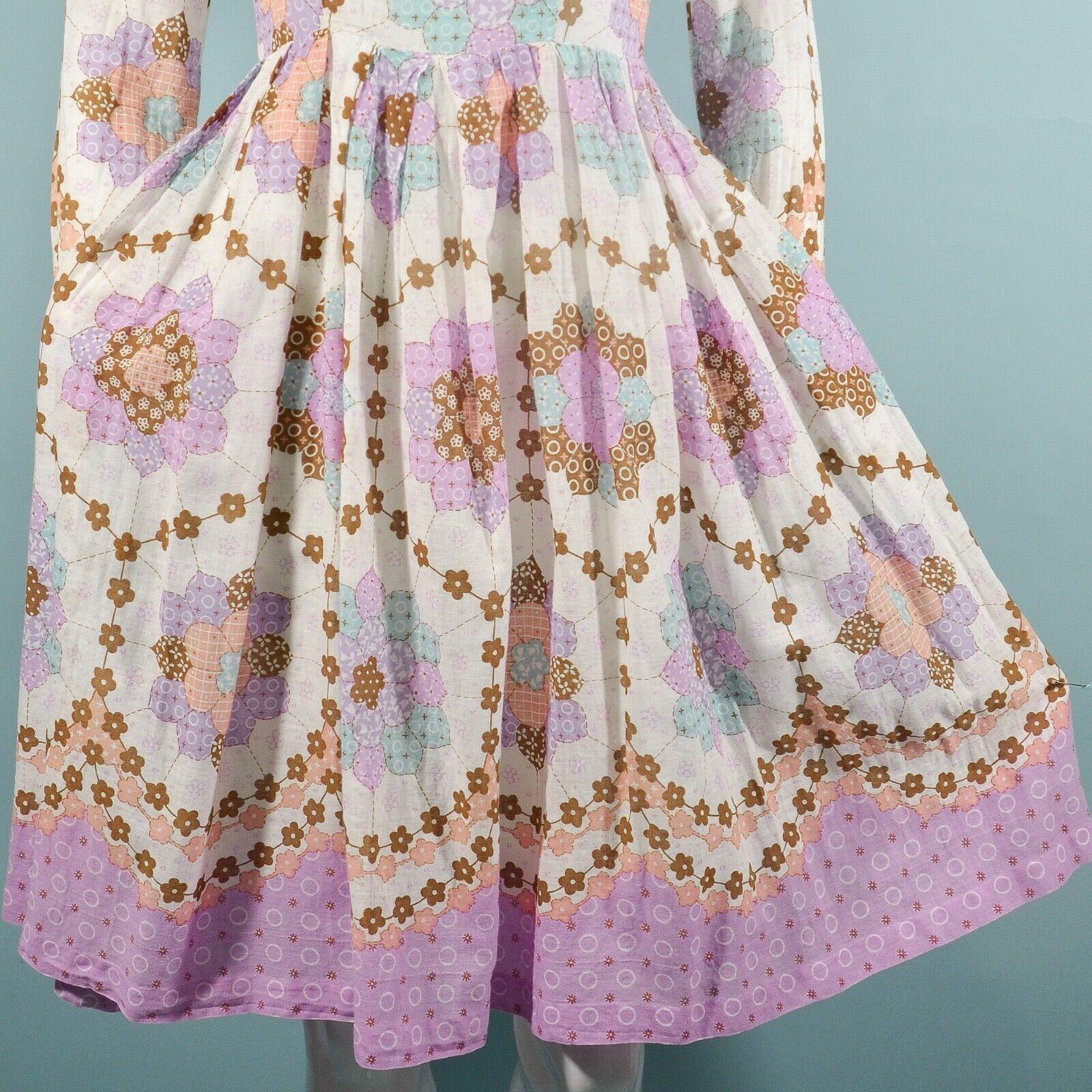 Vintage 60s/70s Faux Patchwork Hippie Dress, Cott… - image 10