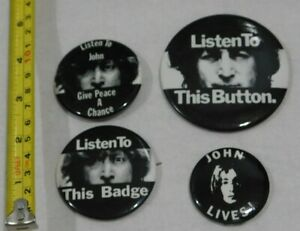 4-BUTTONS-JOHN-LENNON-LISTEN-TO-THIS-BUTTON-BADGE-GIVE-PEACE-A-CHANCE-PIN-BACK